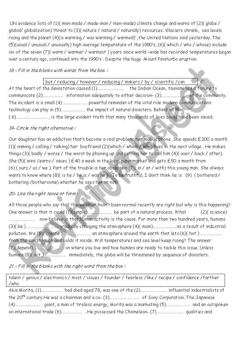 bac revision worksheet | Anglais | Worksheets, Esl, Printables