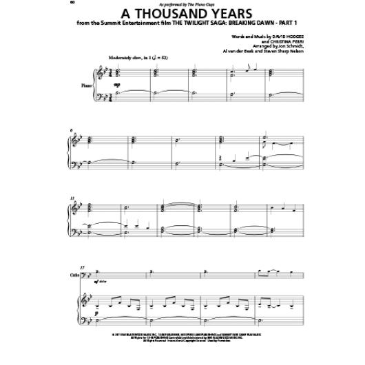 a thousand years piano guys sheet music