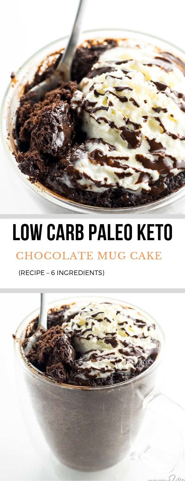 Low carbohydrate keto chocolate mug cake is prepared in only two minutes, using 6 components! This recipe makes a simple paleo chocolate cake at a mug.