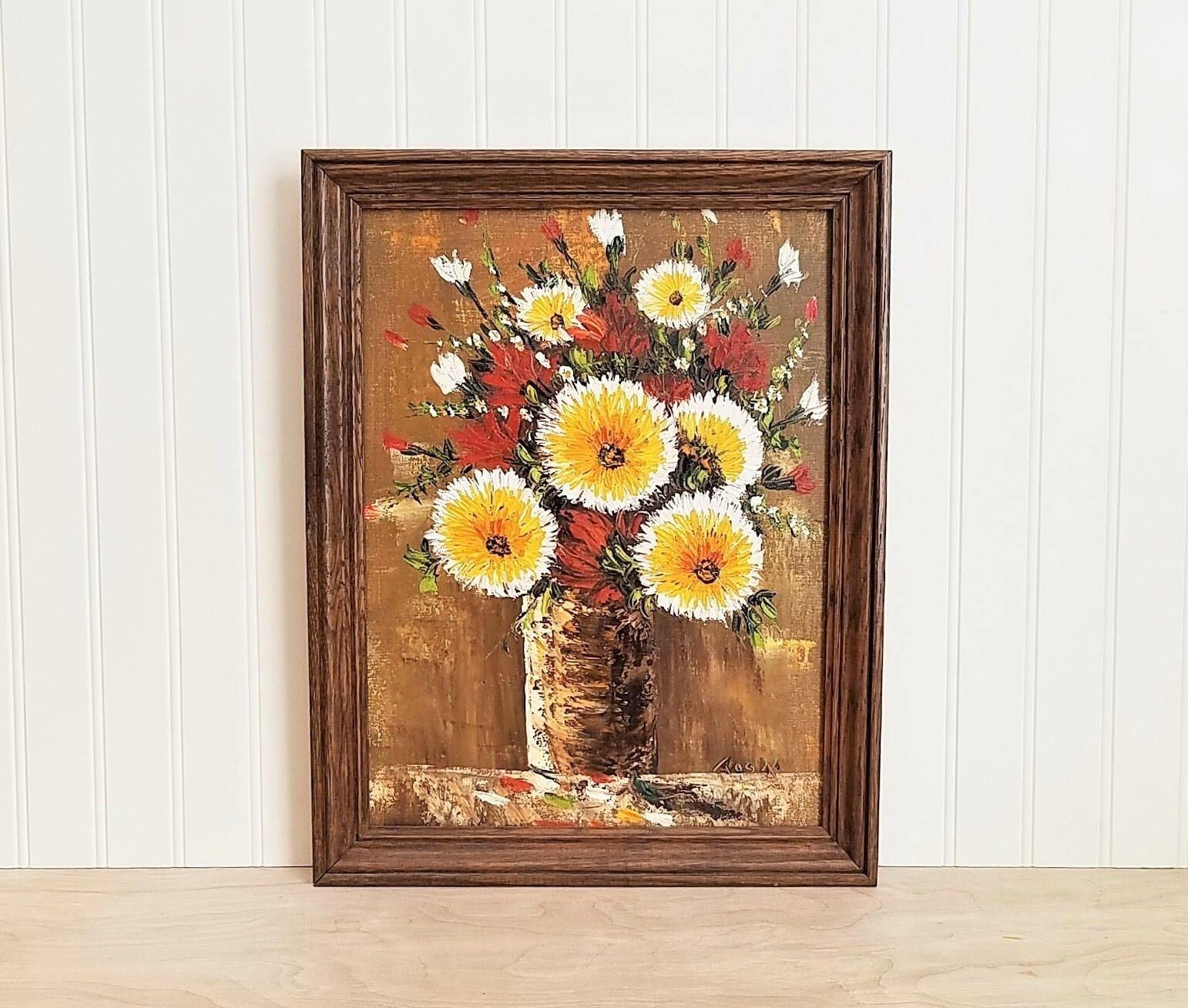 Vintage Yellow Floral Painting Yellow Floral Oil On Canvas Autumn