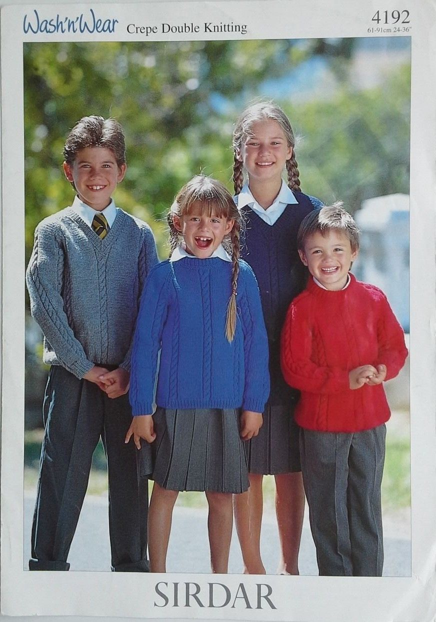 Boys and girls dk school round and v neck jumpers knitting wash n wear crepe dk kids sweaters sirdar knitting pattern 4192 ages bankloansurffo Image collections
