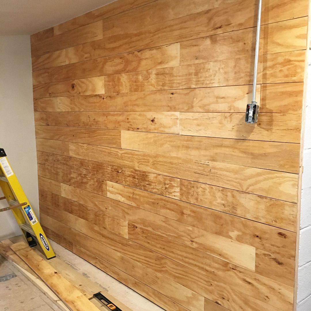 Faux shiplap over cinder block concrete furring for Plywood wall sheathing
