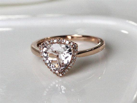 Morganite Ring Set Solid 14K Rose Gold 125ctw Trillion Cut
