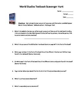 World History textbook scavenger hunt worksheet   World ...