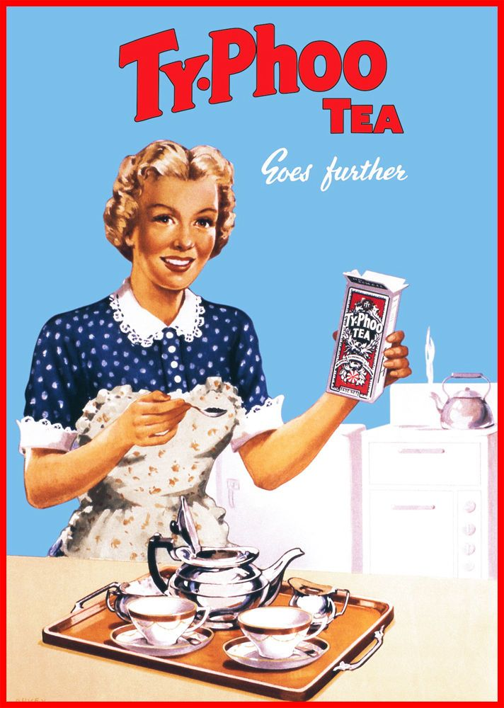 Typhoo Tea Framed Canvas Art Print Poster Kitchen Sign Cafe Bar Retro Vintage
