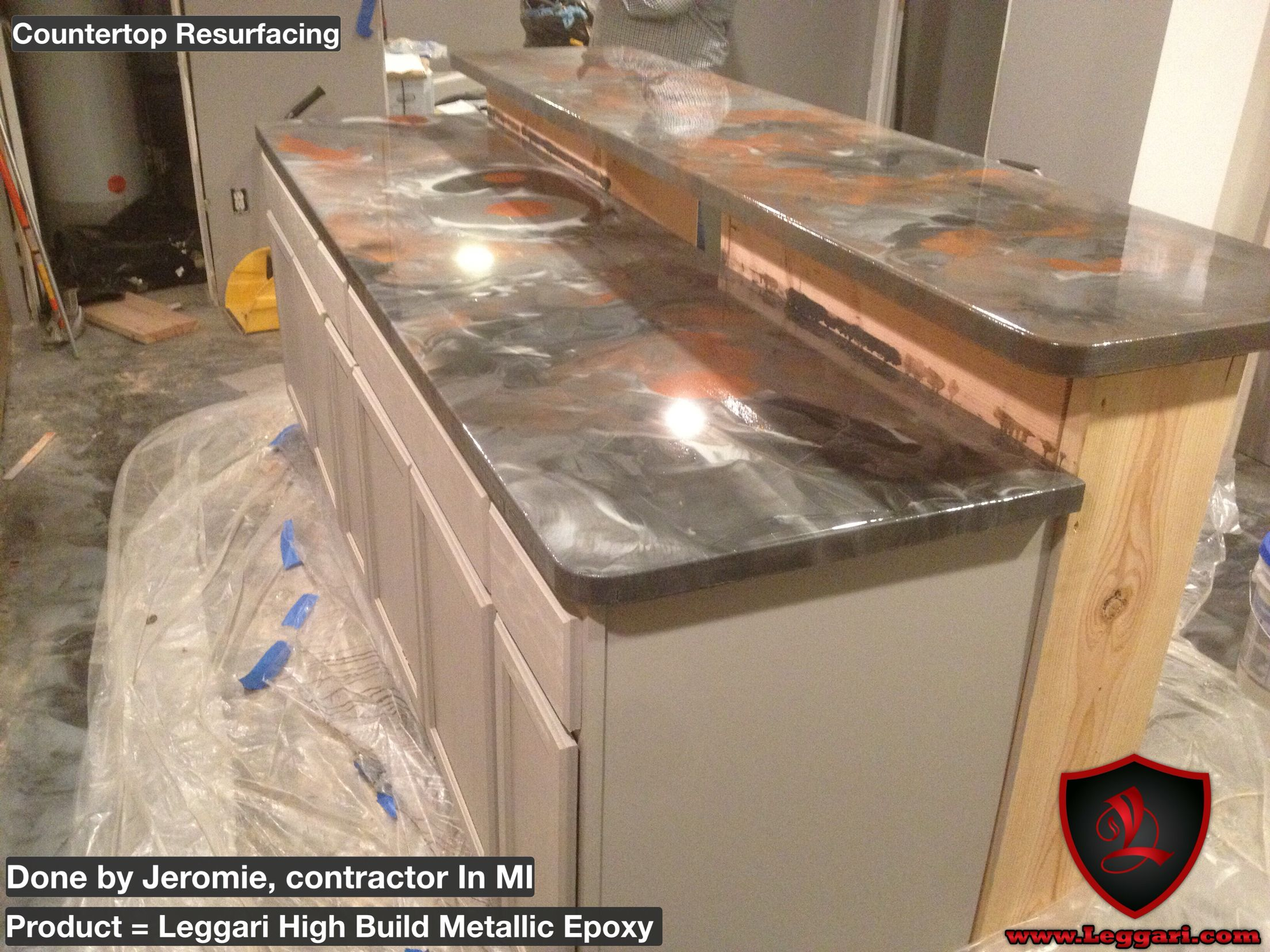 Before and after Countertop coated with a Leggari Products DIY ...