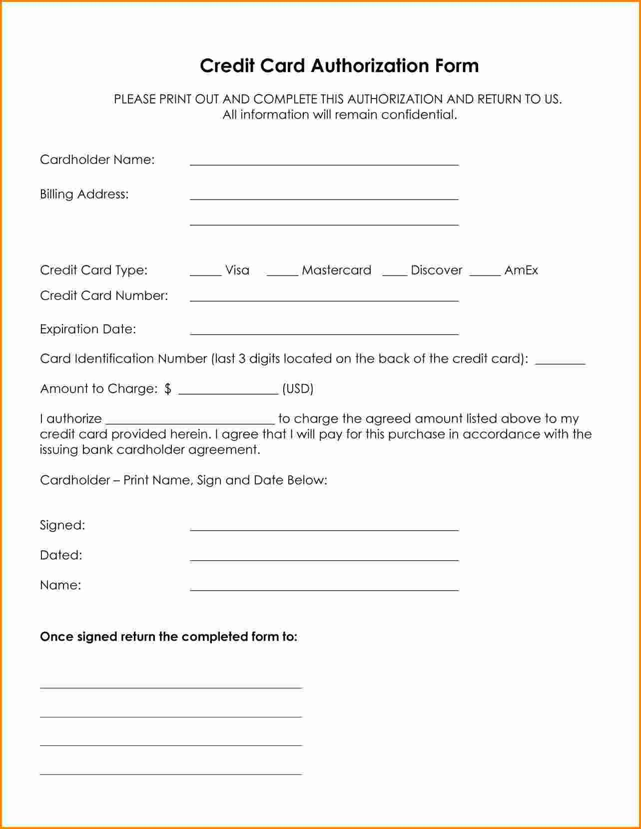 Credit Card Authorization Form Template Word Letter For Passportthorization  Pick  Credit Card Template Word