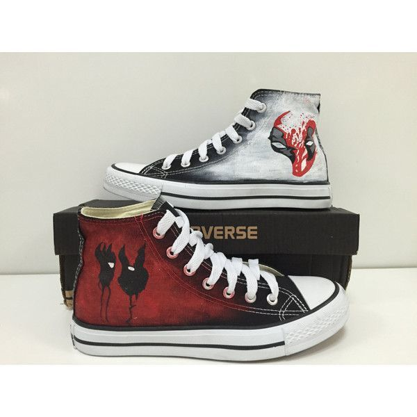 7588753cbbeb Deadpool Custom Converse Sneakers  Hand-Painted On Converse Shoes For...  ( 75) ❤ liked on Polyvore featuring mens fashion
