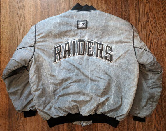 08a575656 Oakland Raiders Vintage Starter Jacket L Rare Acid Wash 90s NFL Los Angeles  Denim