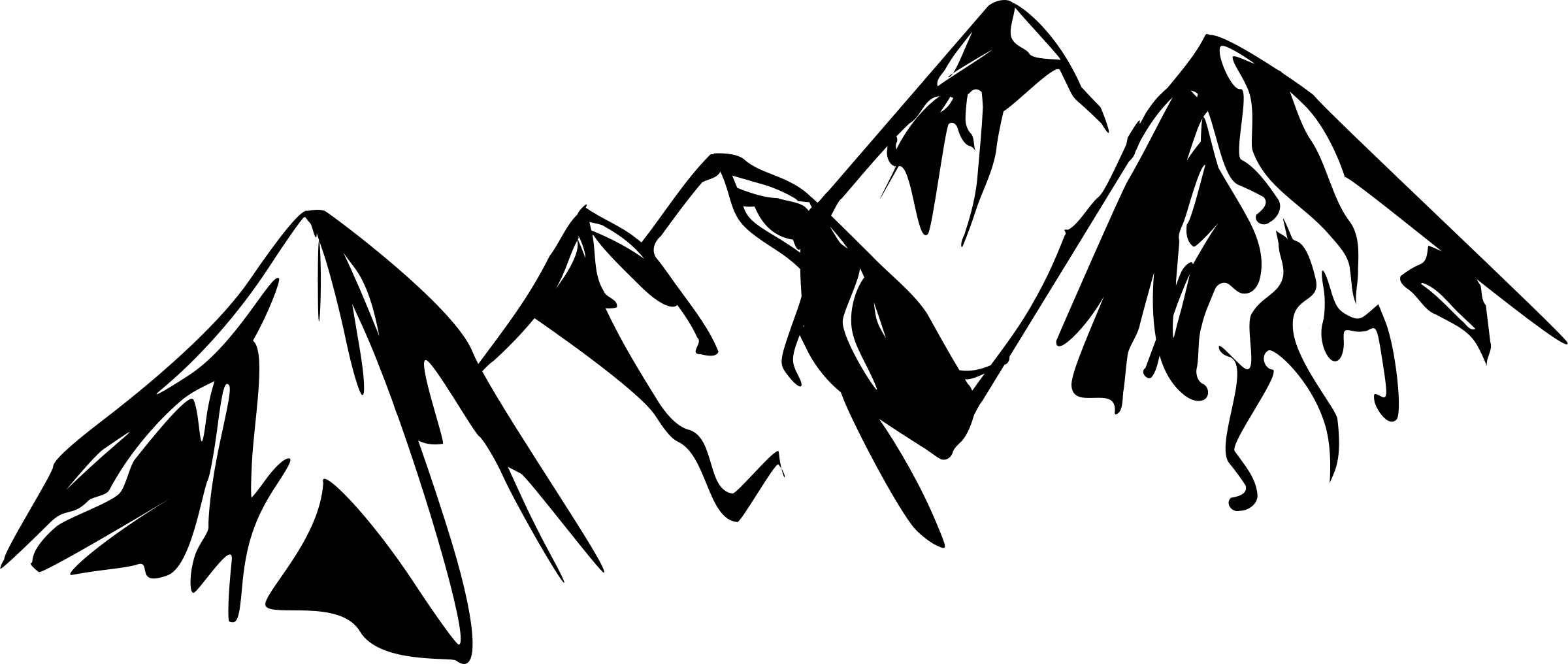 Mountain outline. Range for undercut tattoo