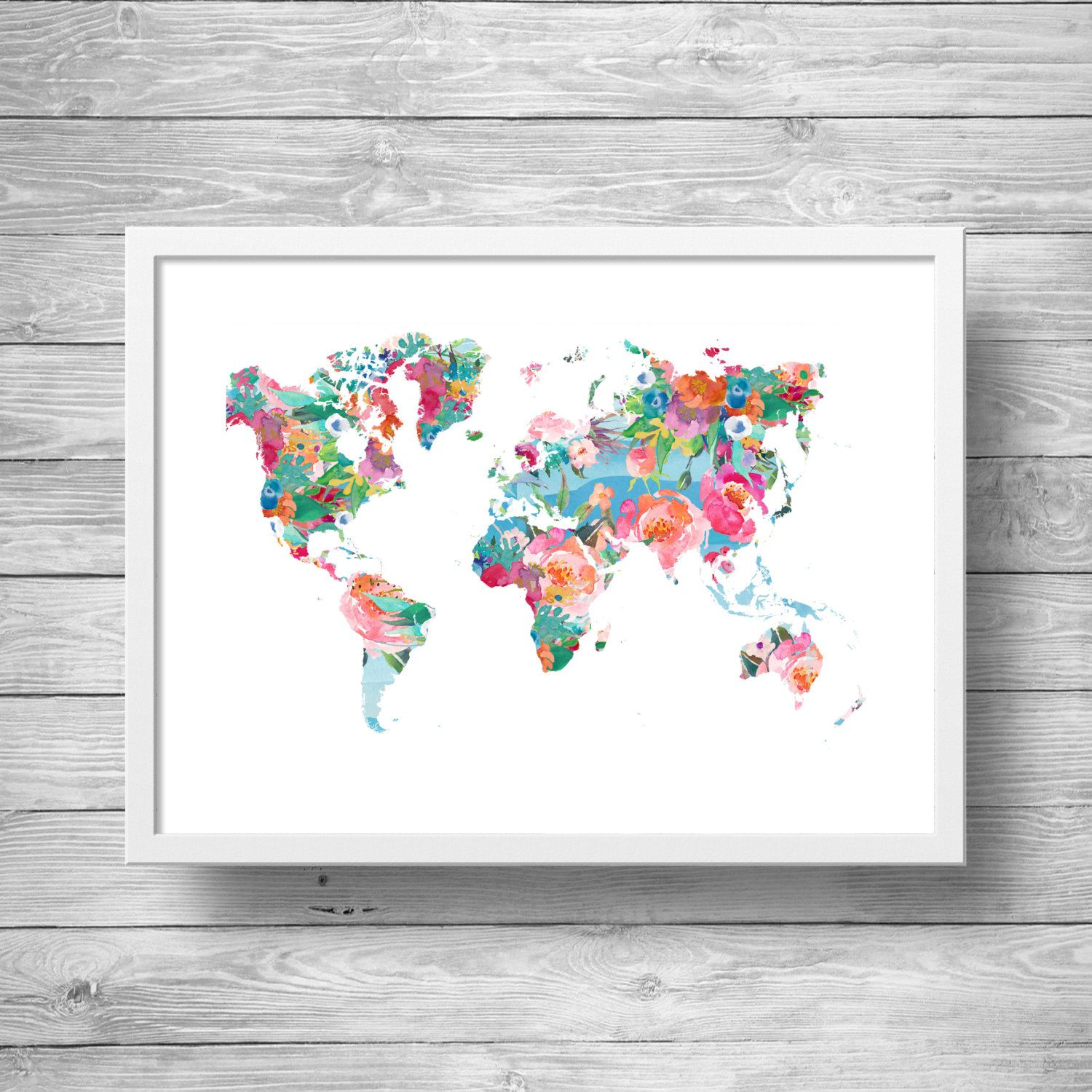 World map printable art wanderlust floral watercolor world map printable art world map floral watercolor world map geography print travel decor gumiabroncs Gallery