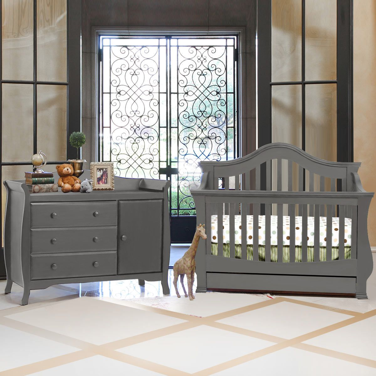 Million Dollar Baby 2 Piece Nursery Set - Ashbury 4-in-1 Sleigh ...