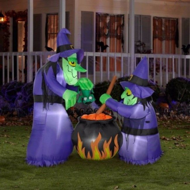 Halloween Airblown Inflatables 6H x 4W Theme Double Bubble Witches - halloween inflatable decorations