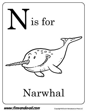 N Is For Narwhal Letter N Coloring Page Pdf Preschool Alphabet Printables Letter A Coloring Pages Letter N