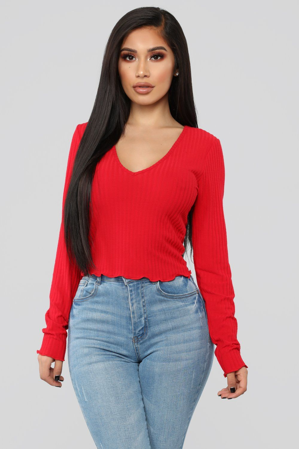 Go To Long Sleeve Top Red Long sleeve outfits, Fashion