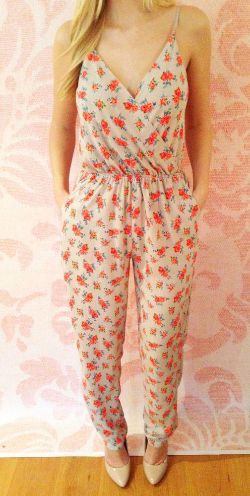 """Amie"" Grey Neon Floral Print Wrap Spaghetti Strap Jumpsuit"