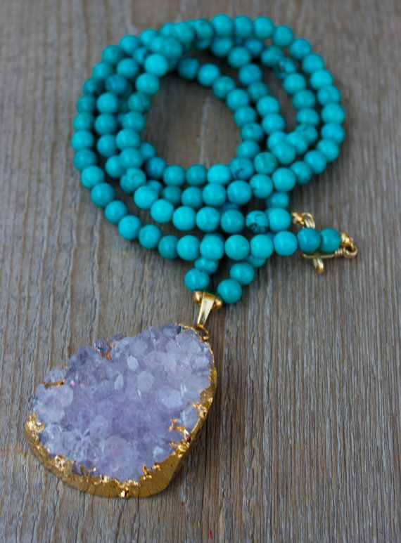 Amethyst Purple Druzy Gold Plated Necklace, Turquoise, Brass Beads, Beaded,  Bohemian April Gift