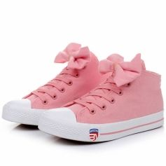 Sweet Bowknot Decorated Bicolor Lace-Up Sneaker For Girls Three Colors