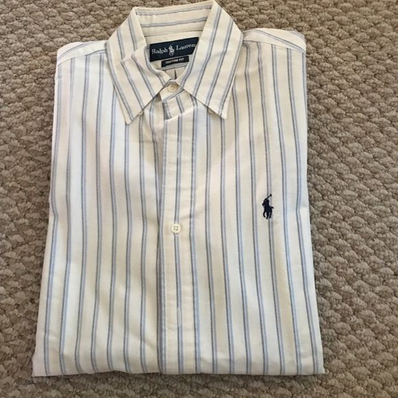 Ralph Lauren Long Sleeve Button-Up Long sleeve Ralph Lauren Polo. White with blue vertical stripes. No tags, worn once. Size small in men's, med/Lrg in women. Ralph Lauren Tops Button Down Shirts