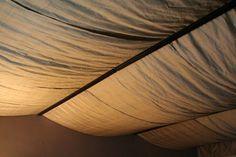 DIY UNFINISHED BASEMENT Fabric-Covered Basement Ceiling  Mom's idea