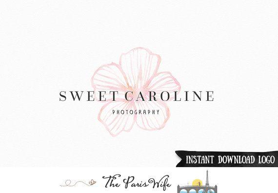 Instant Download Logo Watercolor Floral Logo Photography Logo Photoshop Logo PSD