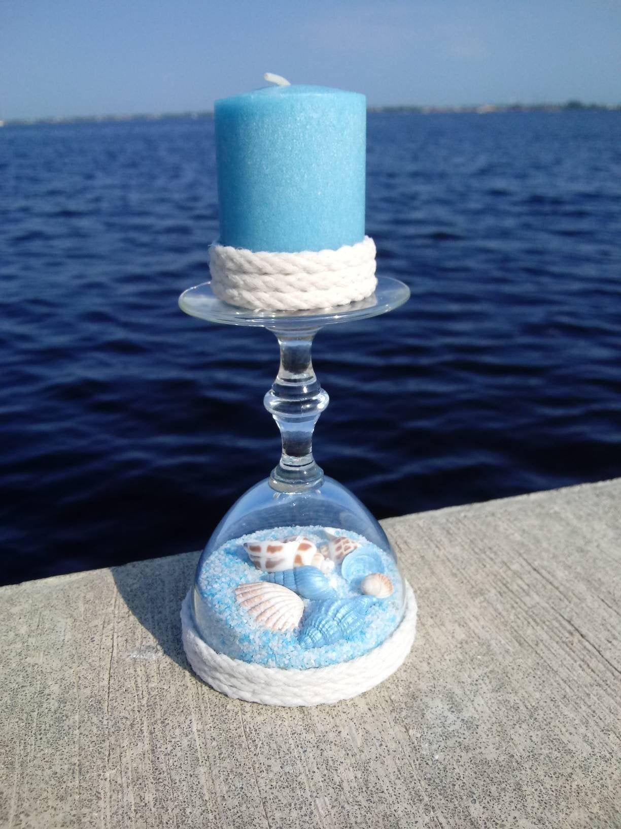 Mini Upcycled Glass Candle Holder Seashells Beachy Home Decor Turquoise Candle Holder Wedding Decor Housew Wine Glass Candle Holder Candle Holders Candles
