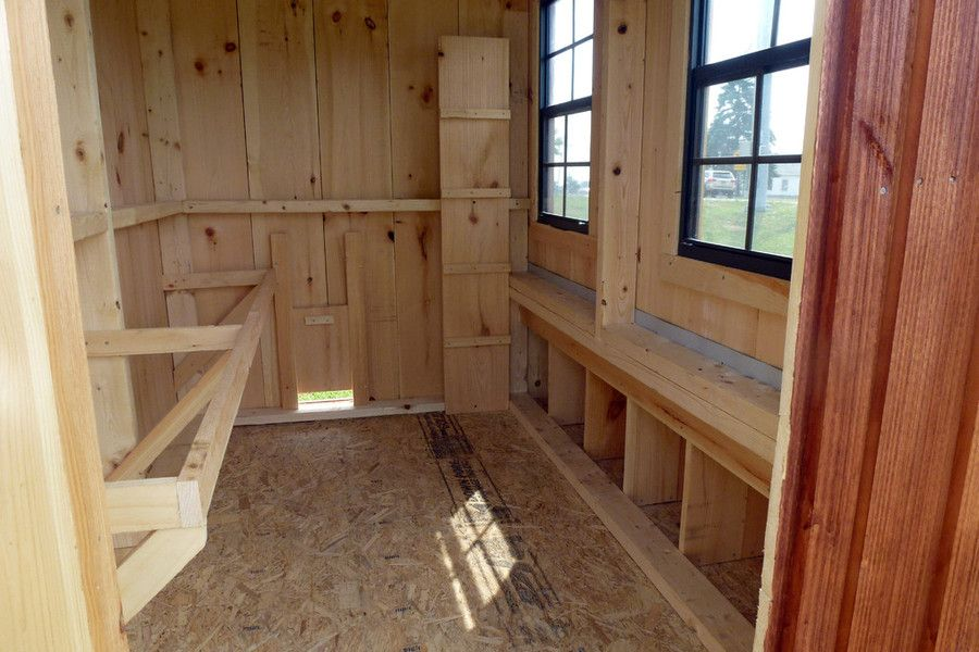 Amish Chicken Coops | Chicken Coop Interior   Roosting Ledge, Nesting  Boxes, Ramp