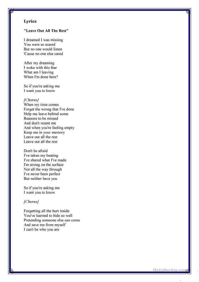 Song From Twilight Linkin Park Leave Out All The Rest Worksheet Free Esl Printable Worksheets Made By Teachers Twilight Songs Songs Linkin Park