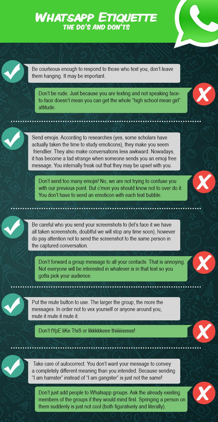 Whatsapp Etiquette The Do S And Don Ts Destination Ksa Etiquette Online Etiquette Netiquette