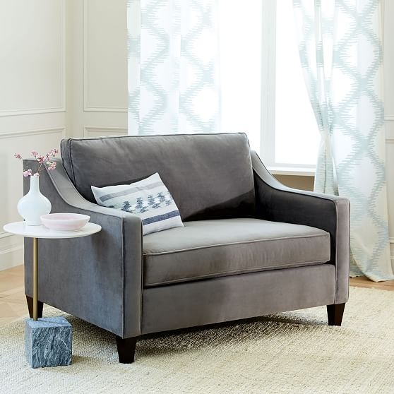 Paidge Chair And A Half Sleeper Poly Luxe Boucle Angora