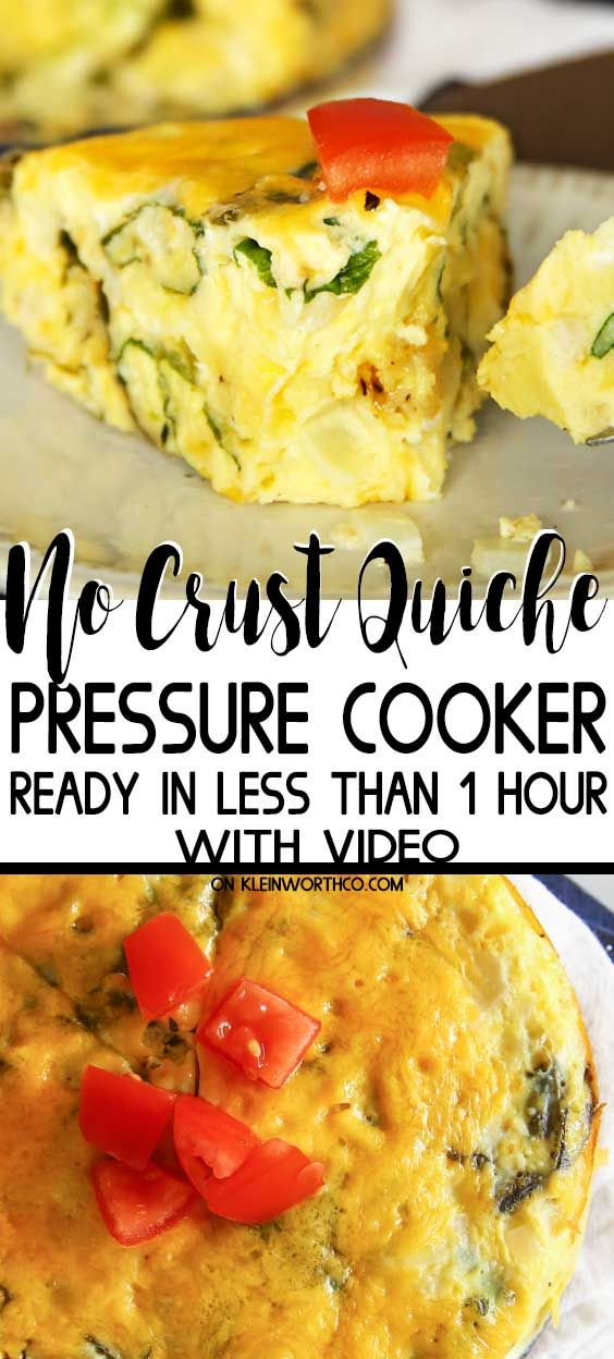 Break out the Instant Pot. This Pressure Cooker Crustless Quiche is an easy & delicious breakfast recipe that is ready in less than 1 hour. So good! #ricecookermeals