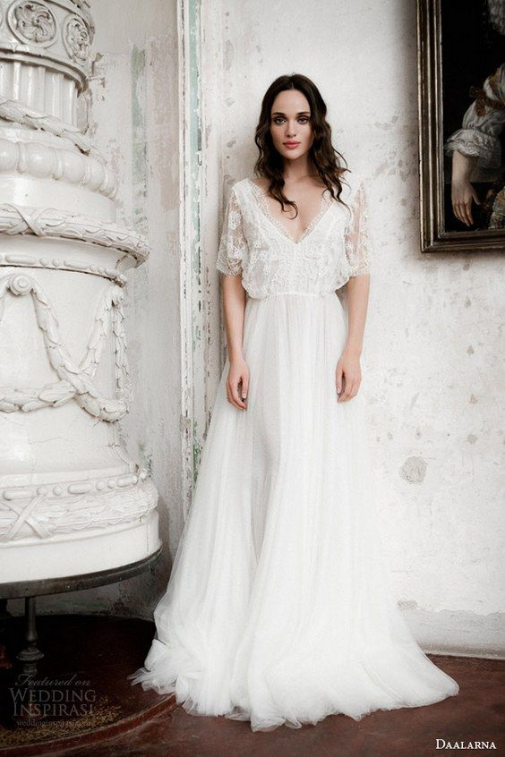 20 gorgeous wedding dresses with flutter sleeves flutter for Flutter sleeve wedding dress