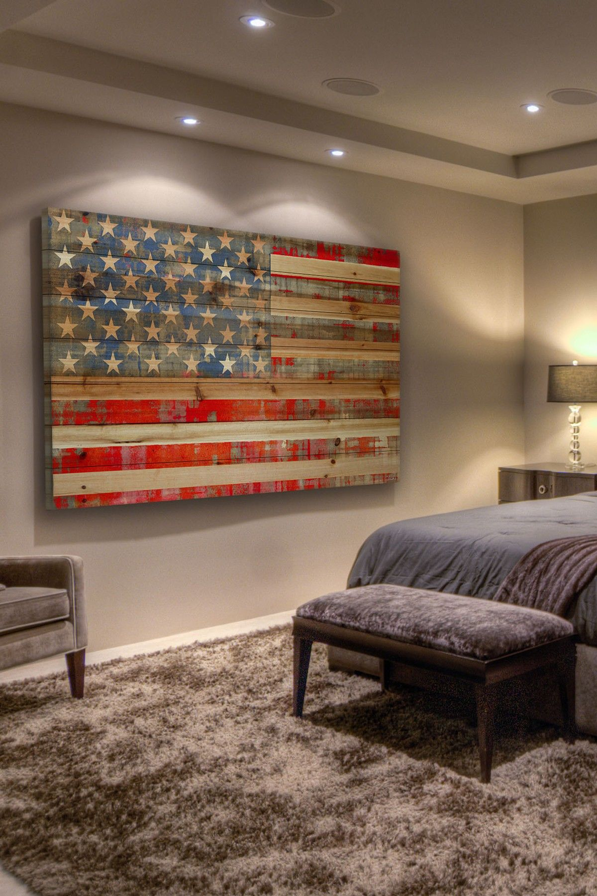 American Flag Painted On Distressed Wood Home Decor