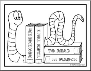 Literacy Coloring Pages Coloring Page Reading Month Bookworm Preview 1 Book Worms Coloring Pages Reading
