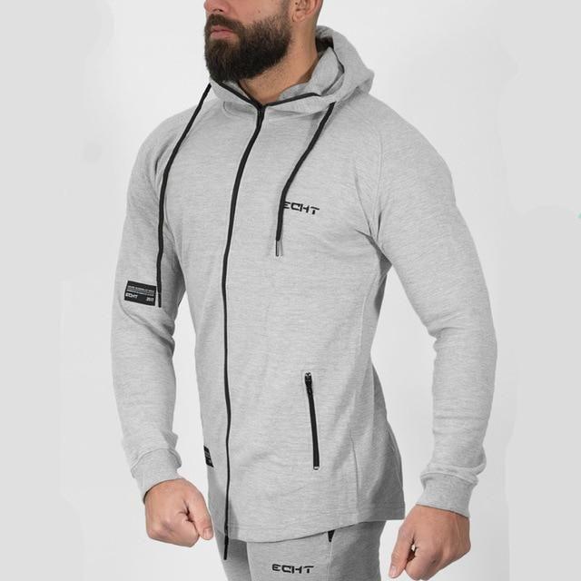 Autumn Winter Men Solid hoodie Fitness Bodybuilding Sweatshirts fashion  Casual Hooded Zipper Slim Jacket male Cotton Sportswear 9ec55fda6208