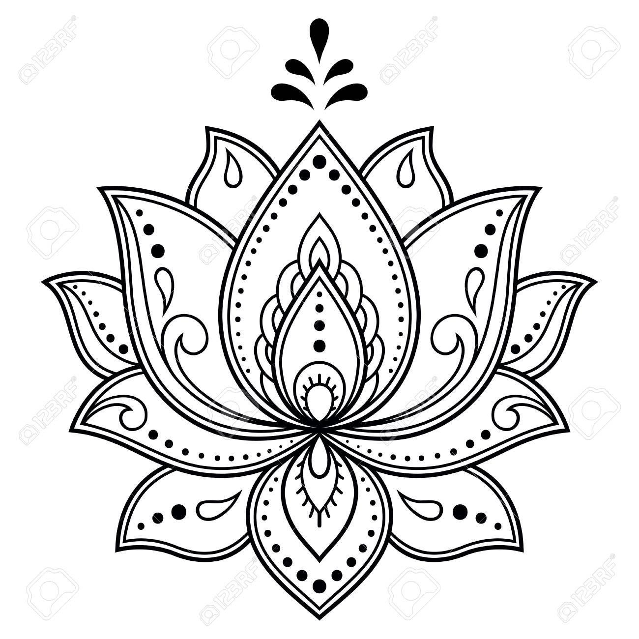 Mehndi LotusBlumenmuster für Hennastrauchzeichnung und