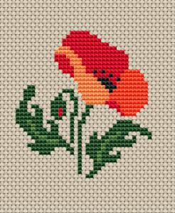 Floral Cross Stitch Poppy Cross Stitch Pattern