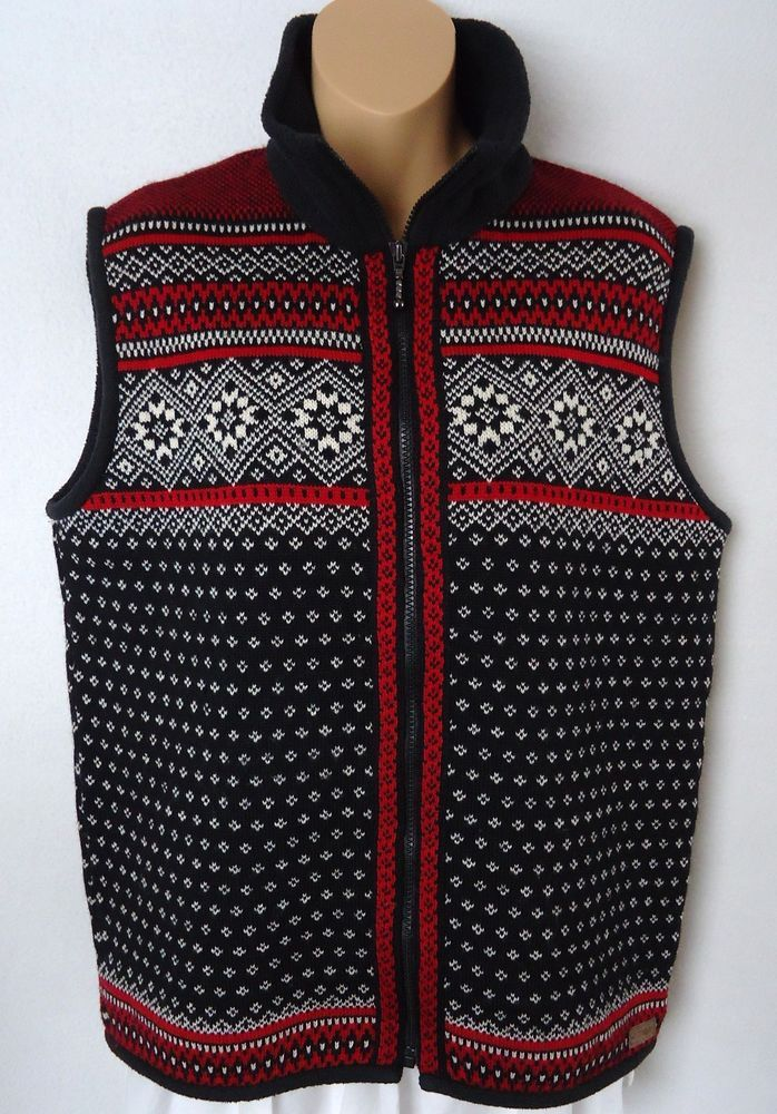 Kootenay Medium M Vest Sweater 100% Wool Nordic Fair Isle Canada ...