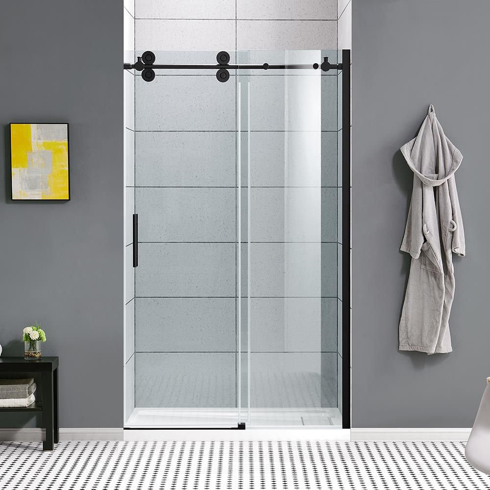 Ove Decors Sydney 78 75 In H X 46 25 In To 47 75 In W Frameless Sliding Matte Black Shower Door Clear Glass Lowes Com In 2021 Shower Doors Black Shower Doors Frameless Sliding Shower Doors