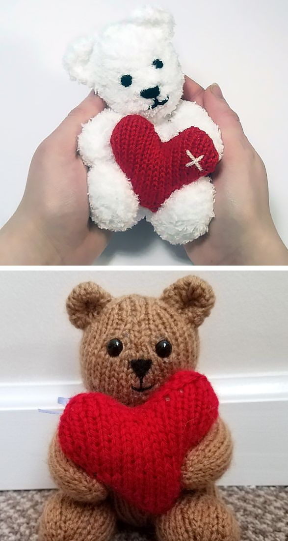 Knitting pattern for Little Valentine's Teddy Bear - This ...