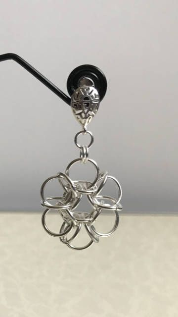 Anese Reverse Tao Chainmaille Earrngs With Lattice Earring Posts And Erfly Backs The