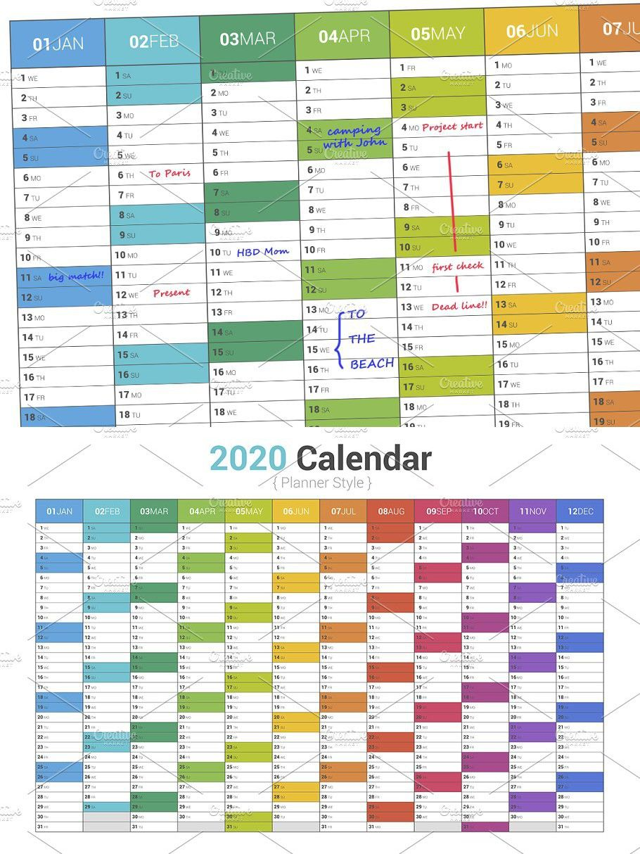 Calendar 2020 Planner Simple Color Simple colors