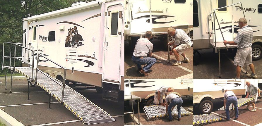 How To Build A Handicap Ramp >> Set up of Roll-A-Ramp portable ramp system for RVs and Travel Trailers. | RV Ramp - Roll-A-Ramp ...