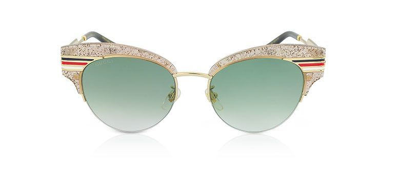 7ea431a662770 Gucci GG0283S Cat Eye Beige Glitter Acetate Sunglasses with Sylvie Web  Temples