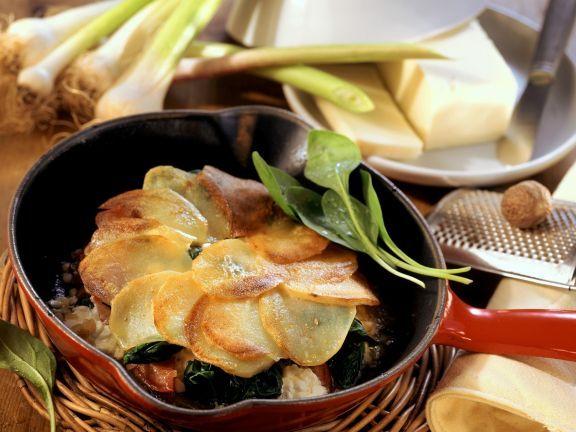 Spinat mit Hüttenkäse und Kartoffelhaube ist ein Rezept mit frischen Zutaten aus der Kategorie Blattgemüse. Probieren Sie dieses und weitere Rezepte von EAT SMARTER!