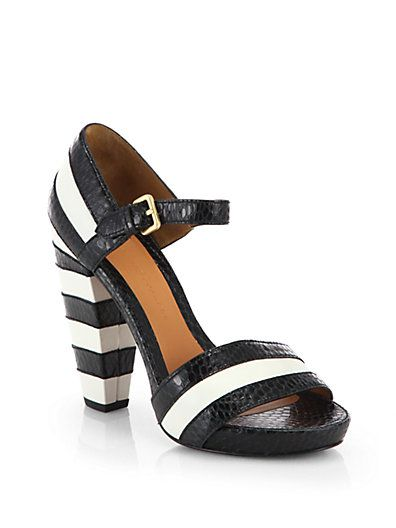 Marc by Marc Jacobs - Snake-Embossed Striped Leather Sandals - Saks.com