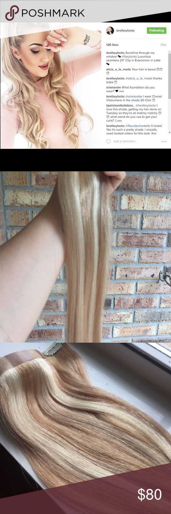Foxy Locks Latte Blonde Seamless 18 Clip Ins Blonde Color Remy