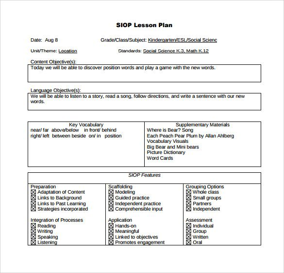 DownloadableSampleSiopLessonPlanTemplateJpg  Wida And Ell