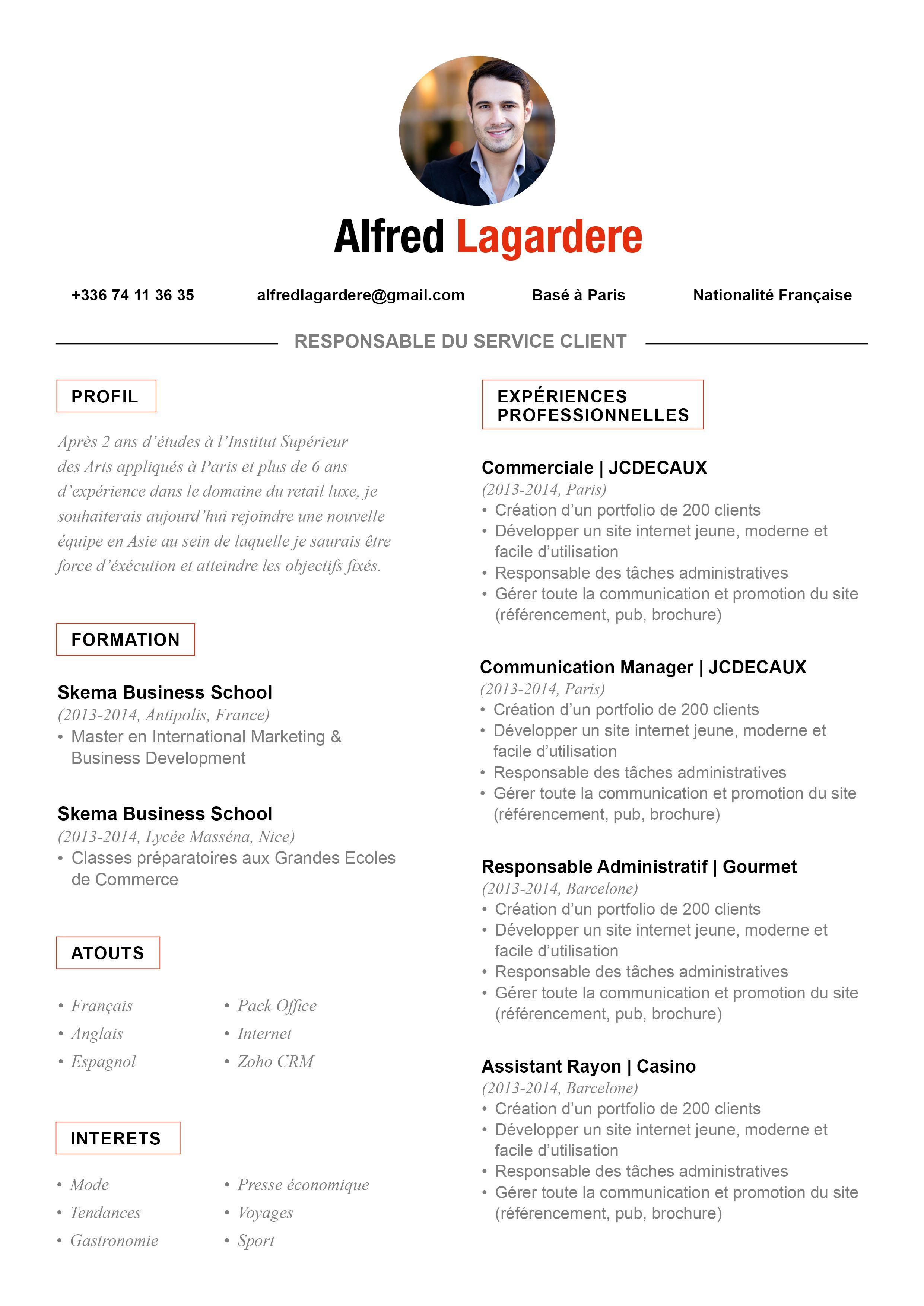CV Traditionnel Conformiste Nationalité française