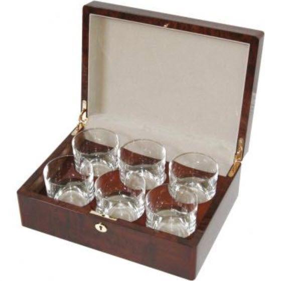 Camphor Burl 6 Whiskey Glass Box